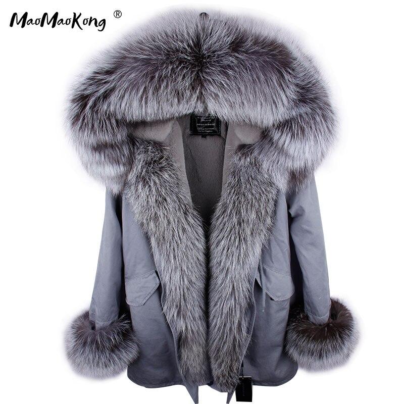 2018 Natural fox Fur collar fur coat winter jacket coat women outwear warm thick parka Artificial