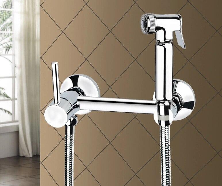fashion wall mounted brass material chrome finished bidet faucet set toilet gun bathroom shower faucet цены онлайн