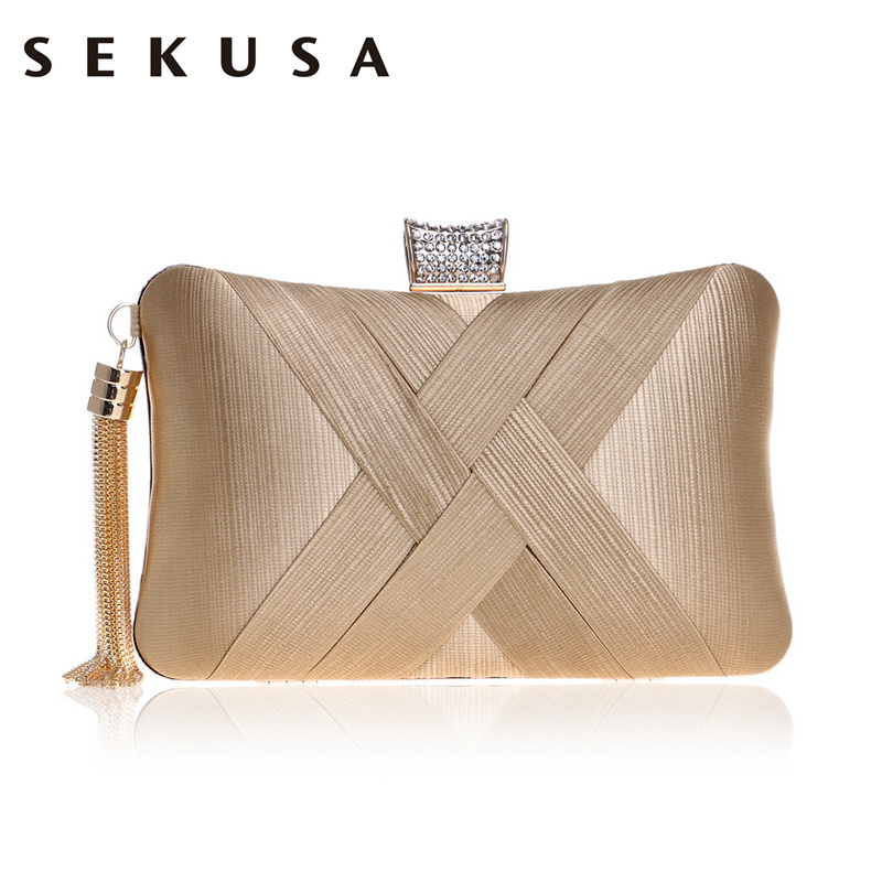 SEKUSA Tassel Fashion Ladies Day Clutch Bag Small Shoulder Handbags Female Party Wedding Evening Bag For Women Phone Purse