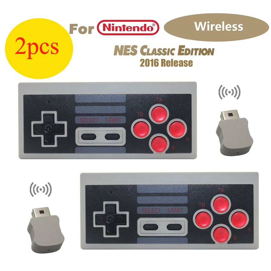 2 Pcs Wireless Controller Gamepad For Nintendo Mini Classic Edition NES Console  AAA Batteries Power