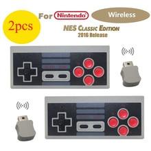 2 pcs controlador sem fio gamepad para nintendo mini classic edition nes console aaa baterias de energia
