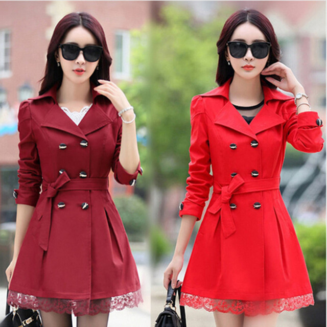 Women Trench Coat 2017 new Fashion windbreaker Big Size Lace Thin Double-breasted Coat Women Winter Outerwear Clothing 5 Colors