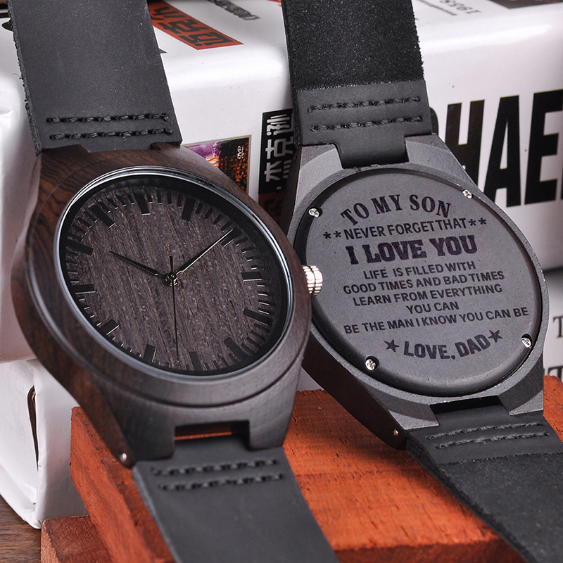 Engraved Wood Watches for Men Personalized Family Anniversary Gift for Son Graduation Gift black graduation star personalized banner