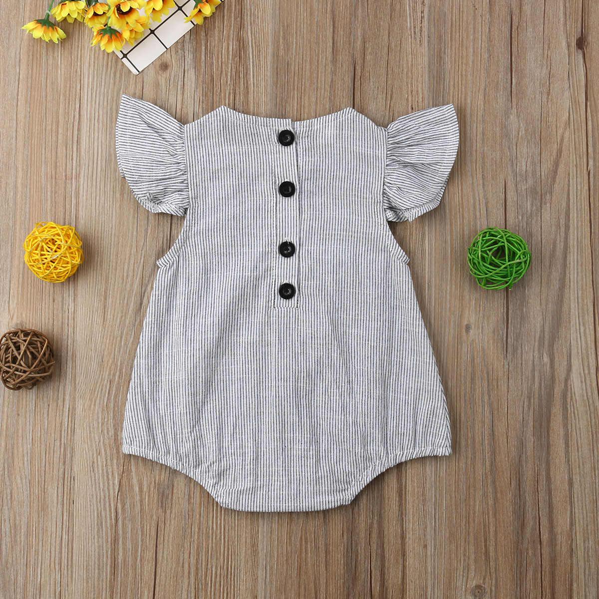 Pasgeboren Baby Romper Peuter Baby Meisje Jongen Kleding Ruche Jumpsuit Mouwloze Gestreepte Outfits Zomer Sunsuit 0-18M