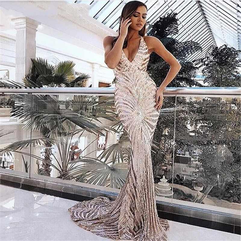 Пикантные розовое золото, с пайетками платья с открытой спиной на выпускной Русалка 2019 длинные бретельках Черный Макси Для женщин недорого вечернее платье вечерние платье