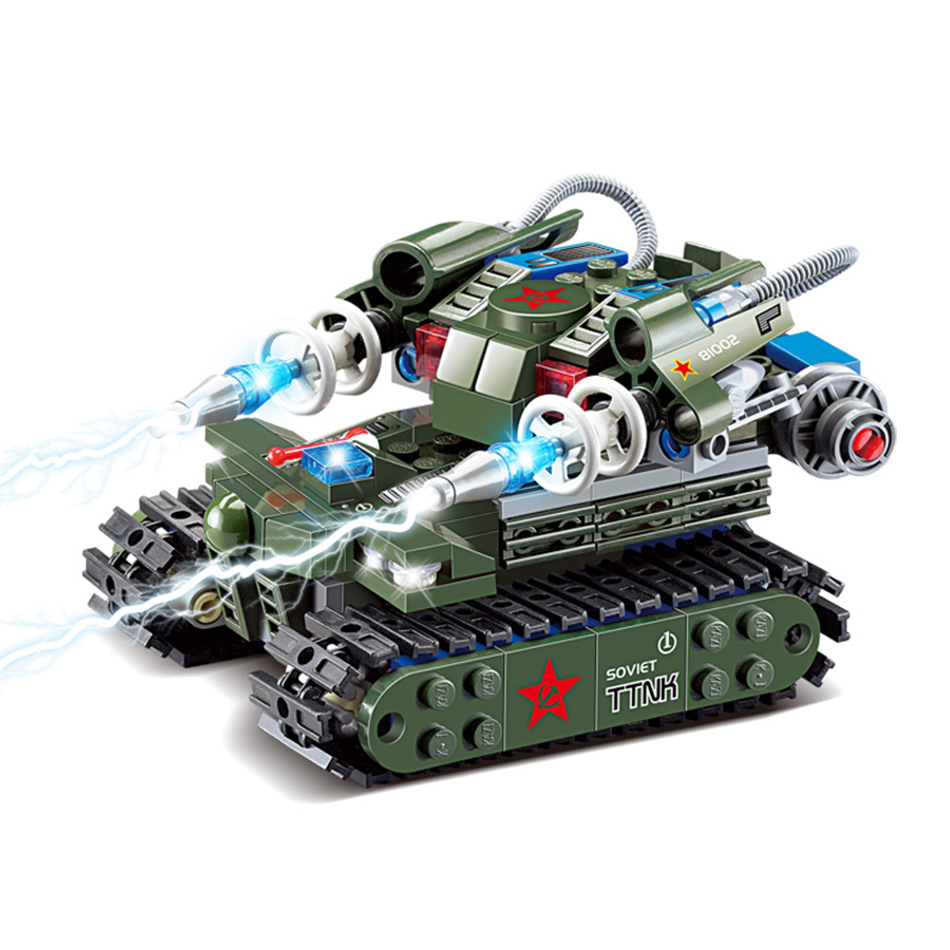 262pcs Military Tesla Tank Building blocks sets Scale truck models bricks Educational Bricks Toys for children Birthday Gift tumama 829pcs military blocks toy 8 in 1 warship fighter tank army soldiers bricks building blocks educational toys for children