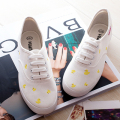 New arrival fashion women canvas low cute print  yellow duck women shoes hand-painted Casual shoes