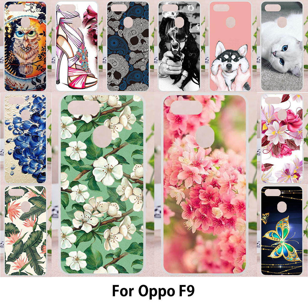 Cases For Oppo F9 Covers For Oppo F9 Pro Soft Silicone Painted Bags 6.3 Inch Patterned Back Covers Skins Shell Housings