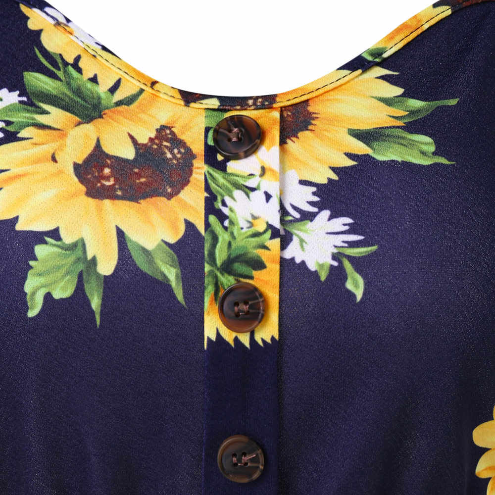 Wisalo Цветочные без рукавов случайный Подсолнух печати линия скольжения Cami Спагетти ремень платья для женщин Кнопка вверх богемное платье 2XL