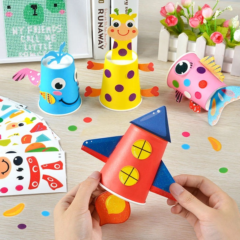 12pcs Children Diy Handmade Paper Cups Sticker Material Kit