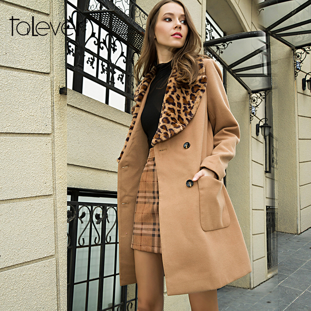 7f3b31a612e6 Fashion Winter Women Leopard Print Wool Outwear Elegant Brown Lady Office  Warm Double Breasted Coat Casual Big Blends Talever