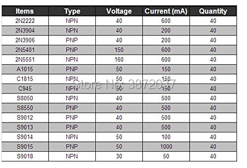 Transistor NPN PNP Variedade Pack Kit 40-160 V 50-600mA