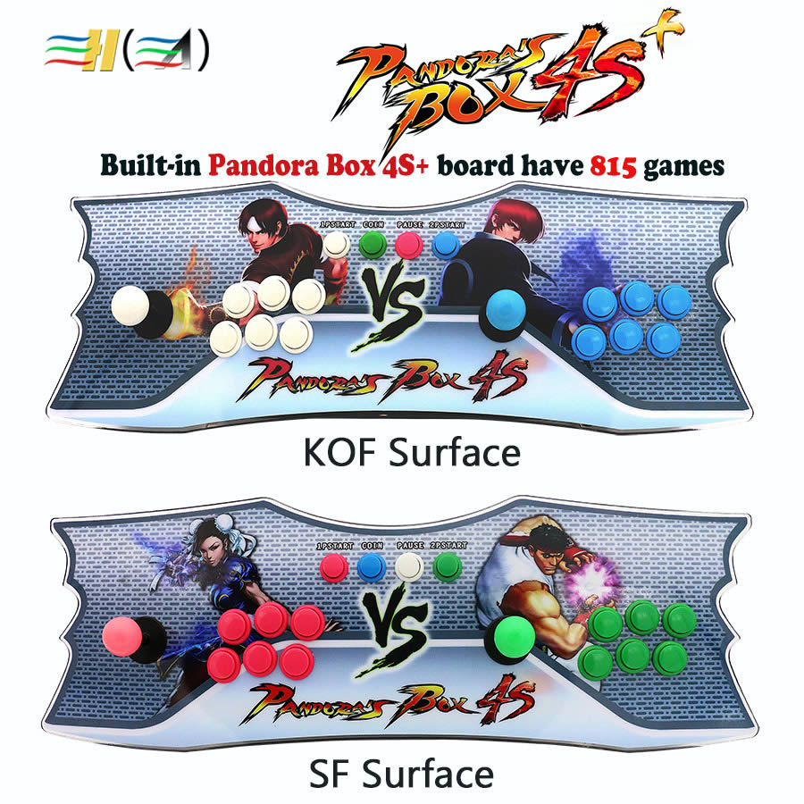 Built-in Pandora box 4s plus 815 in 1 game console HDMI / VGA interface KOF/SF surface Acrylic Pandora's Box usb arcade console 815 in 1 original pandora box 4s plus arcade game cartridge jamma multi game board with vga and hdmi output