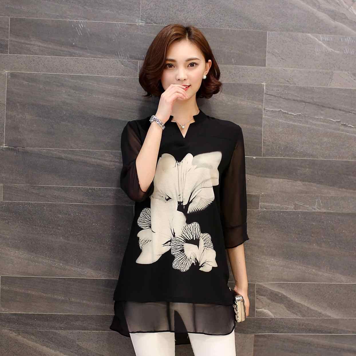 2018 летние новые женские свободные шифоновые блузки плюс размер 4XL 5XL модные черные рубашки с цветочным принтом топы