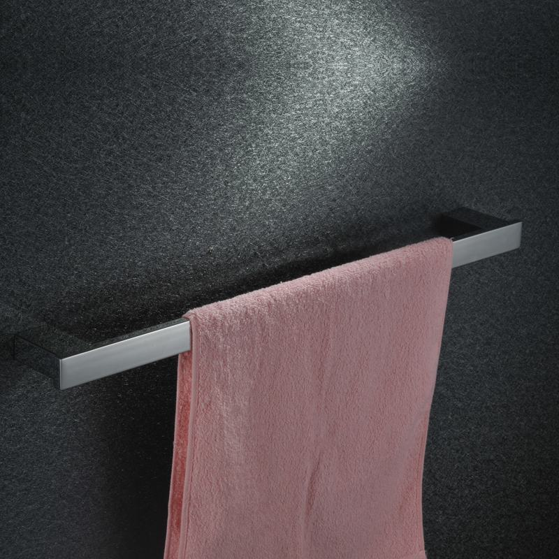 Square  sus304 Stainless Steel  Mirror Polish Towel Rack Chrome Single Bar  Bathroom Accessories