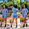 Gola virada para baixo Sexy De uma peça De roupas Shorts azul da impressão macacão Mono Mujer 2016 Macaquinhos De curto moda