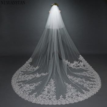 2019 Real Bride Mask veil 3.8*3 Meters 2T White & Ivory Sequins Blings Sparkling Lace Edge Purfle Long Cathedral Wedding Veils