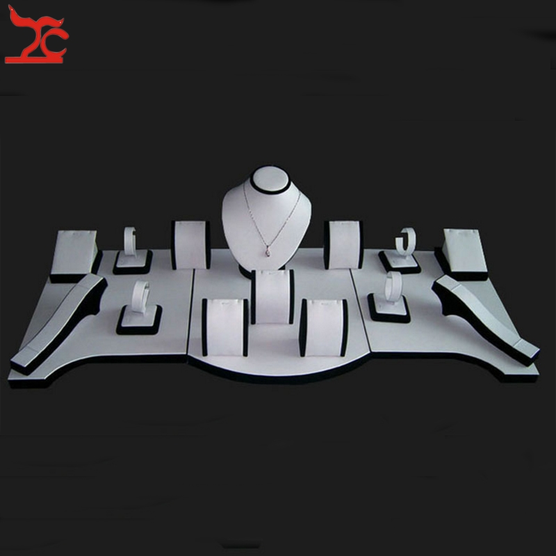 купить Professional Jewelry Display Kit Black And White Necklace Chain Bracelet Earring Organizer Pendant Stand showcase Set по цене 10467.54 рублей