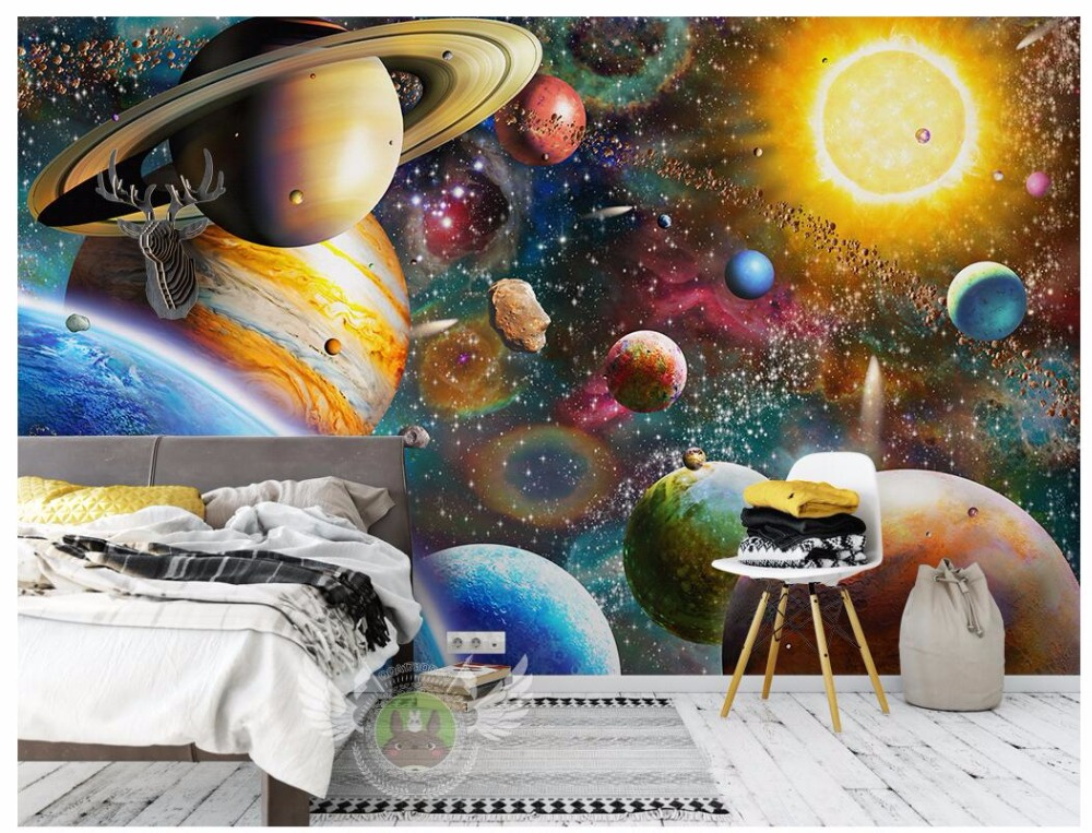 Custom photo 3d wallpaper Space universe children's room Home decor background wall 3d wall murals wallpaper for wall 3 d shinehome classical rose music embossed photo wall paper room wallpaper 3d for livingroom 3 d wall roll background murals rolls