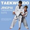 Mayor de la buena calidad niños adultos dobok taekwondo karate uniforme formación suite de algodón transpirable fitness sport ropa WTF