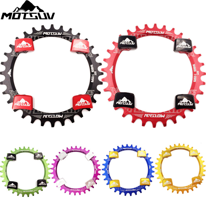 MOTSUV Bicycle Crank 104BCD Oval Round <font><b>32T</b></font> 34T 36T 38T Chainring <font><b>Narrow</b></font> <font><b>Wide</b></font> Chainwheel MTB Bike Single Speed With Crankset Nut image