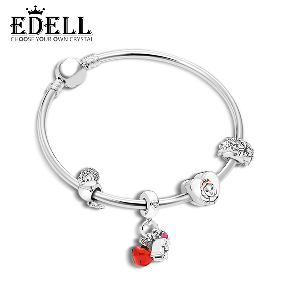 EDELL 100% 925 Sterling Silver Christmas Fairy Tale Charm Apple Bird Book Bracelet Bracelet Original Jewelry Gift Recommended цена