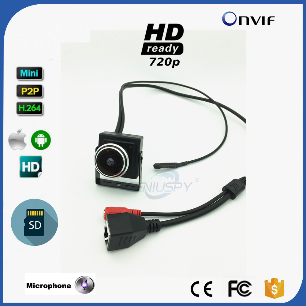 1.78MM Fisheye Lens Wide Angle HD 720P 1.0MP Mini Type IP Camera SD Card Slot Security Camera ONVIF P2P IP CCTV Audio 1mp 170 degree wide angle fisheye mini ip camera 720p home security cctv surveillance onvif video camera p2p hd with microphone