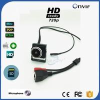 1.78MM Fisheye Lens Wide Angle HD 720P 1.0MP Mini Type IP Camera SD Card Slot Security Camera ONVIF P2P IP CCTV Audio
