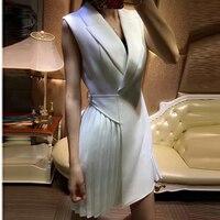 High QUALITY Newest 2018 Designer Runway Dress Women's Sleeveless Pleated Notched Collar Wrap Dress