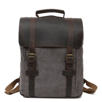 """fashion  canvas Laptop Bag 15.6"""" Vintage backpack oil wax canvas leather Leisure travel bag free shipping"""