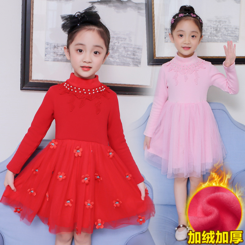 Kids Winter Dress for Girls Age 4 5 6 7 8 9 10 11 12 Years Crew Neck Floral Long Sleeve Knee Red Party Dress Kids Clothing 50T3B