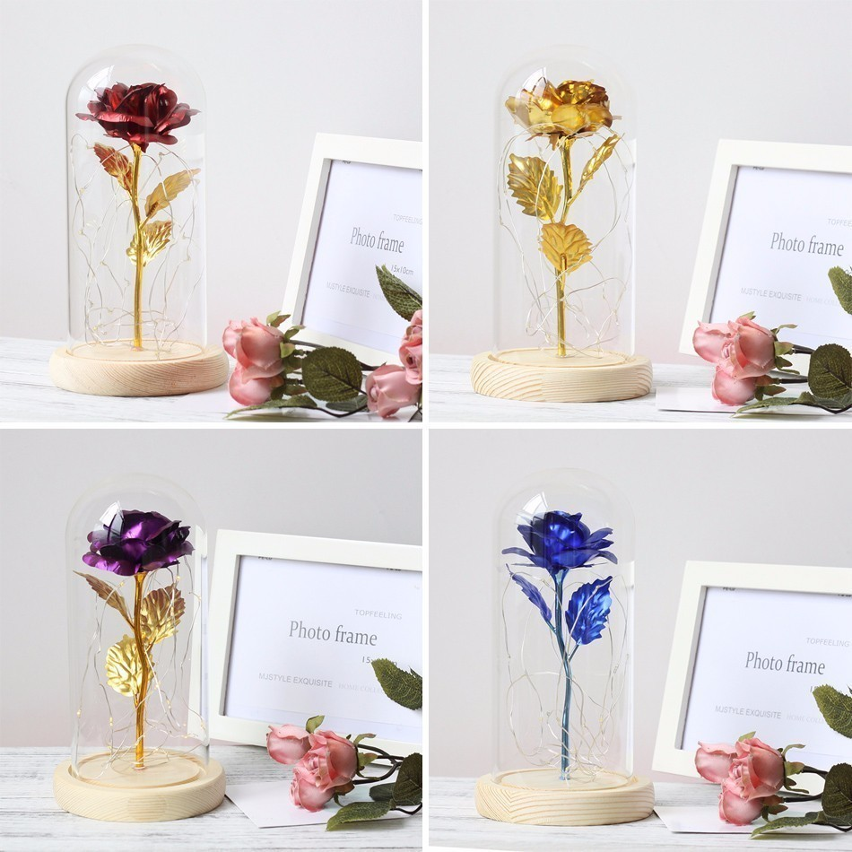 Beauty And The Beast Platinum Red Golden Rose Led Light In Glass