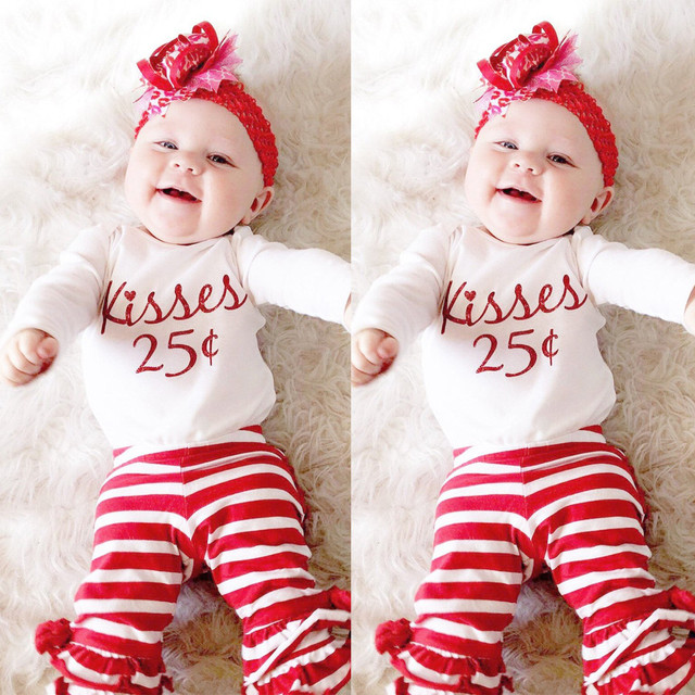 4d316e006af MUQGEW 2PCS Fashion Newborn Baby Boy Girl Letter Romper Tops Striped Pants  Set Valentine baby girl clothes Outfits Dropshipping