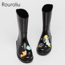 New 2017 Women Fashion Mid-calf PVC Rain Boots Flat Heels Non-slip Cartoon Rainboots Waterproof Water Shoes Woman TS72