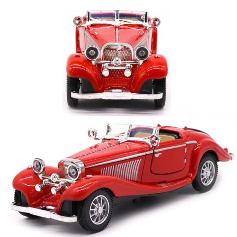 Red Color 1:28 Scale 16.8CM Metal Alloy Diecasts 500K Classic Pull Back 1936 Car Model Vehicles Model Toys For Kids Collection