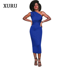 One Shoulder Pencil Dress For Women Off Slim Waist Black Blue Wind-red Womens Bodycon Dresses Elegant Lin