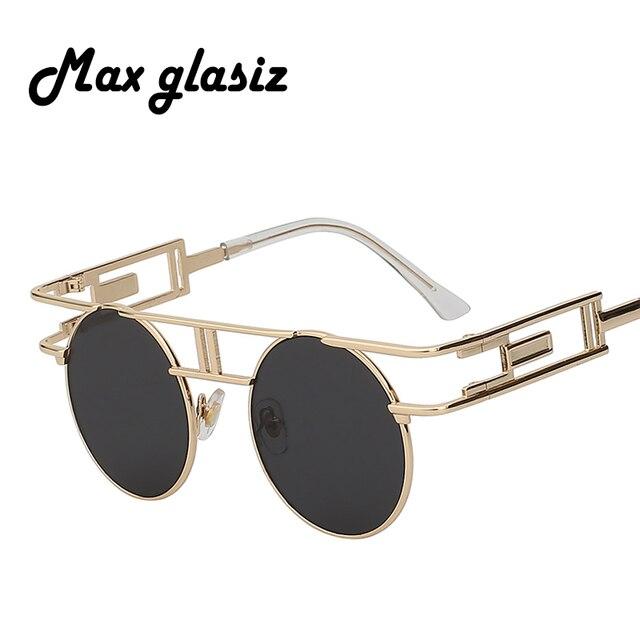 Steampunk Rodada óculos de Sol Óculos de Sol Revestimento Dos Homens Das  Mulheres de Vidro Inspirado 4a3a942e05