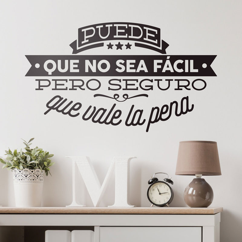 Spanish Deco Quotes Puede Que No Sea Facil Pero Inspiration Lettering Wall Vinyl Sticker For Bedroom Office DIY Murals QU29