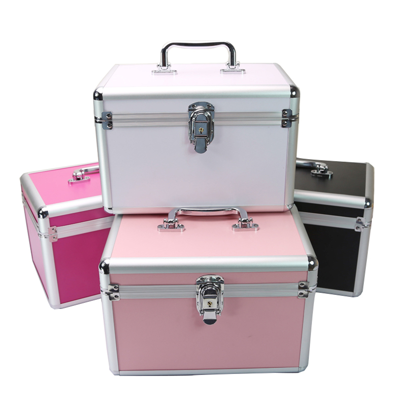 Case-Box Mirror Train-Case Cosmetic-Organizer Jewelry Travel Professional Aluminum Portable title=