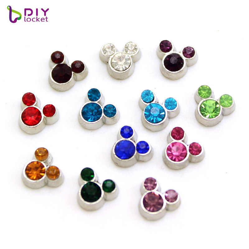 12 pièces/lot Mini cristal coloré Mickey flottant Photo breloques flottantes pour médaillon en verre LSFC116