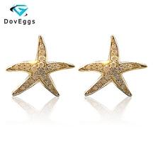 DovEggs Starfish Shaped Fine Stud Earrings 18K 750 Yellow Gold Brilliant Moissanite Simulated Diamond Push Back for Women