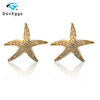 DovEggs Starfish Shaped Fine Stud Earrings 18K 750 Yellow Gold Brilliant Moissanite Simulated Diamond Push Back for Women