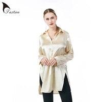 TASTIEN Casual Apricot Long Smooth Shirt Long Sleeve Open Side Split Formal Women Silk Stain Top