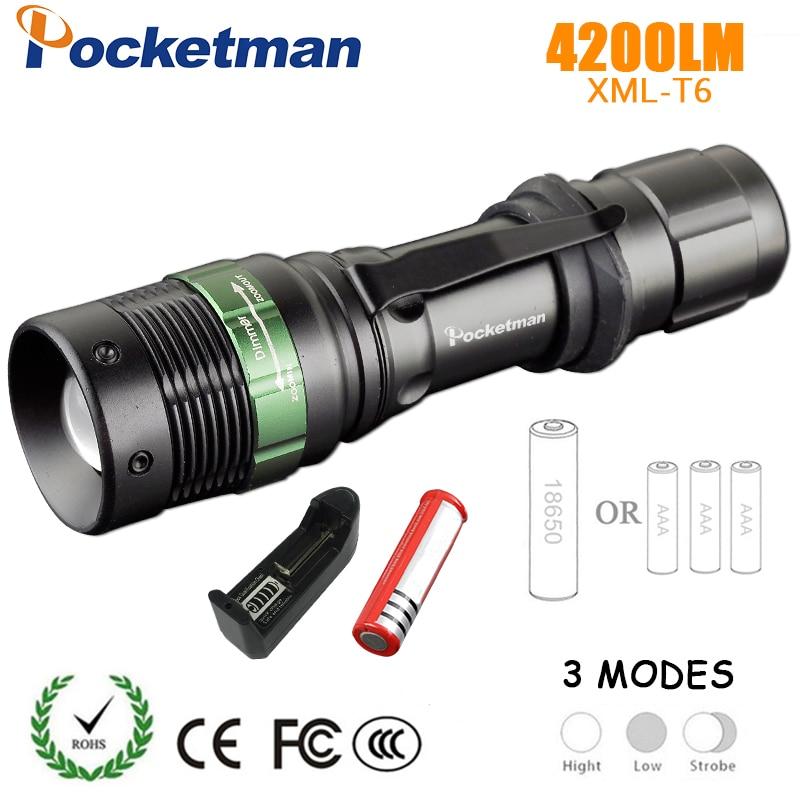 LED lampe de Poche 3 modes xml-T6 keychain Tactique Flash Lumières Lanterna Torche Pour 3 X AAA Batterie Ou 18650 battrey Torches 90