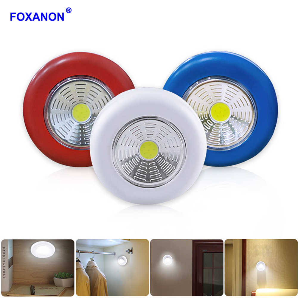 Foxanon COB LED Stick Touch Under Cabinet Light Kitchen Bedroom Wall Lamp Corridor Stair Night Lamp White Lights Battery Powered