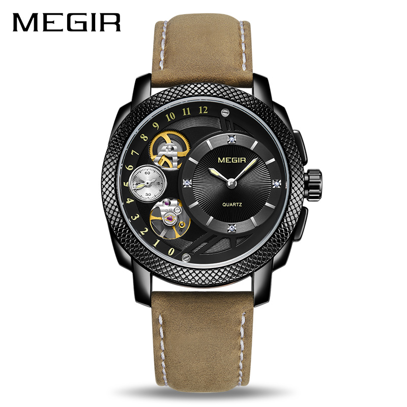MEGIR Fashion Men Watch Top Brand Luxury Sport Quartz Wristwatches Leather Strap Army Military Watches Men Clock Erkek Kol Saati megir creative army military watches men luxury brand quartz sport wrist watch clock men relogio masculino erkek kol saati