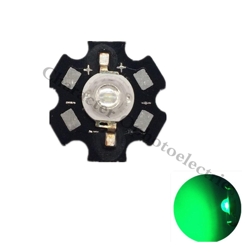 10-100PCS 1W 3W High Power Green LED Emitter 510-530nm 120lm with 20mm Star Heatsink