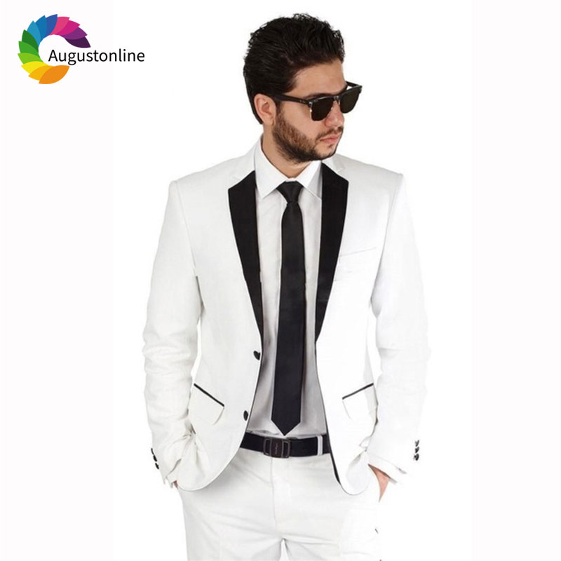 Custom Made White Men Suits Wedding Groom Tuxedos Slim Fit Bridegroom Suits 2 Pieces Jacket Pants Best Man Blazer in Suits from Men 39 s Clothing
