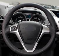 Black Artificial Leather Car Steering Wheel Cover for Ford Fiesta 2008 2013 Ecosport 2013 2016