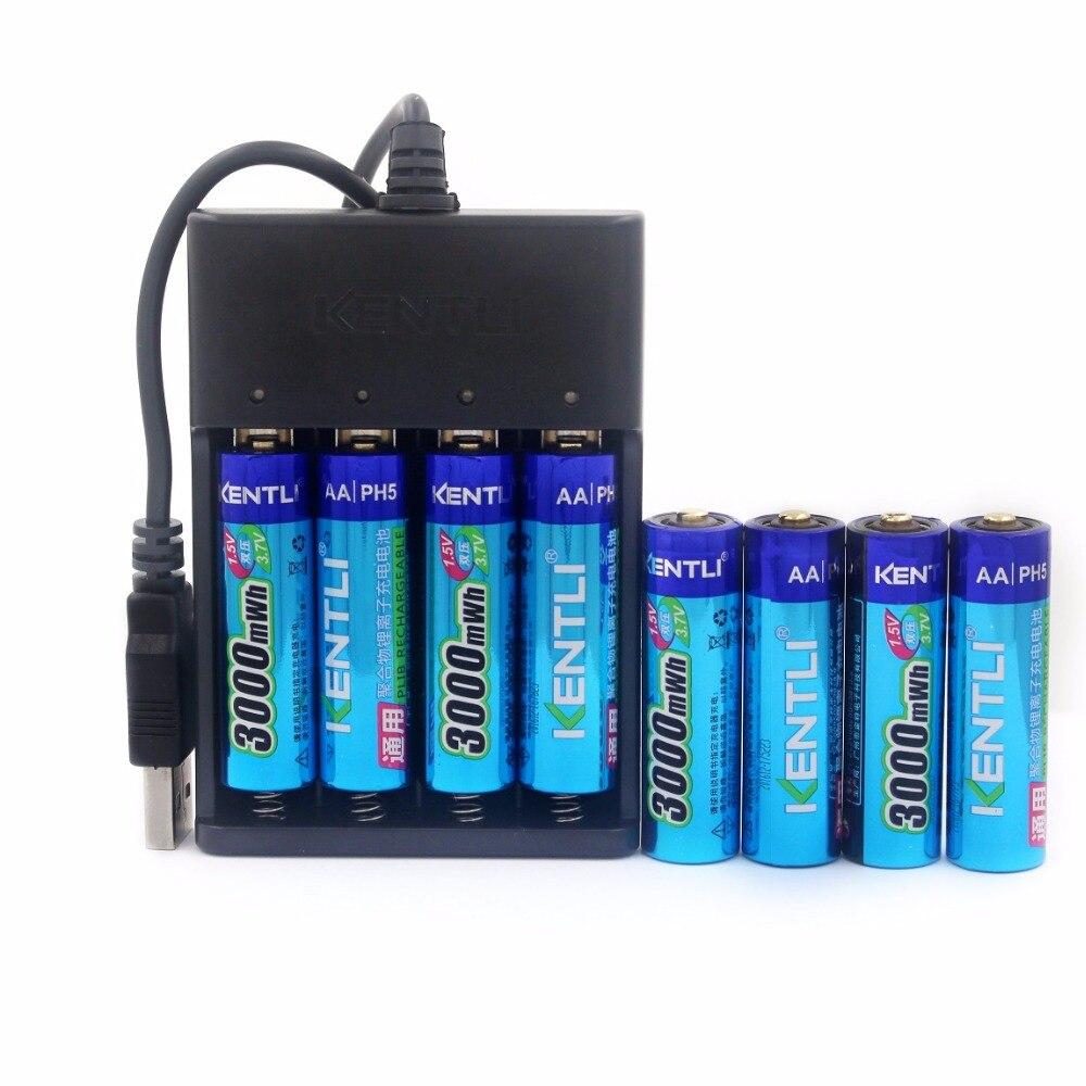 8 unids 1.5 V 3000mWh sin efecto memoria AA recargable li-ion polímero de litio + 4 ranuras cargador USB